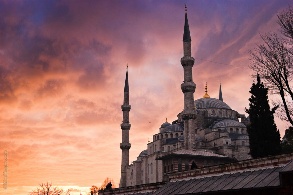 The Blue Mosque (Sultanahmet) at sunset, January 2010. The Blue Mosque is Istanbul's most famous landmark and a symbol of the city.