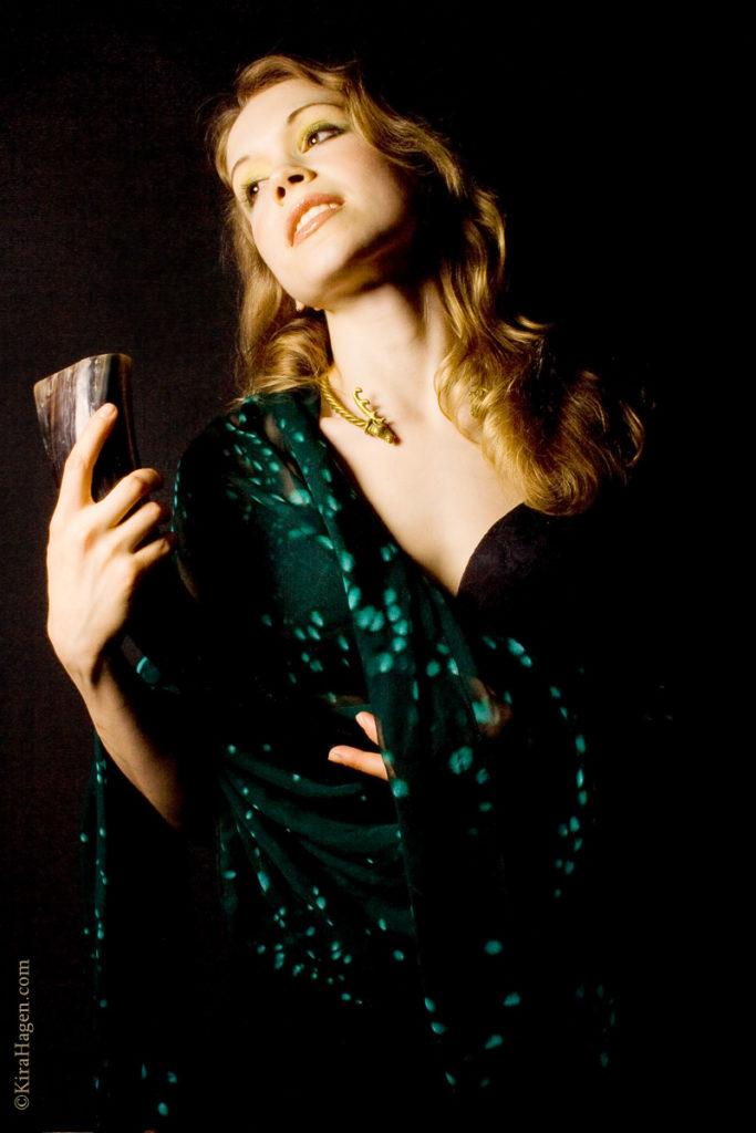 Karina dressed as Queen Maeve from Irish mythology